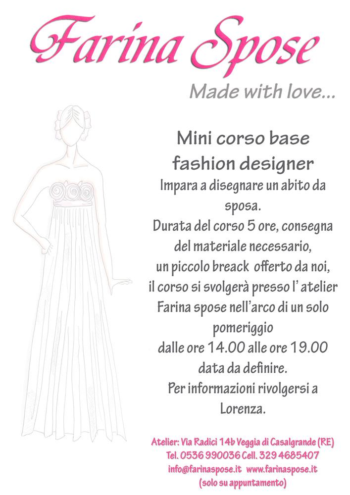 Mini corso di fashion designer farina spose for Corso di designer